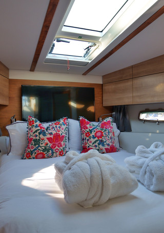 Charter yacht cabing bed filming lifestlye video