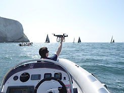 drone filming yacht race on The Solent