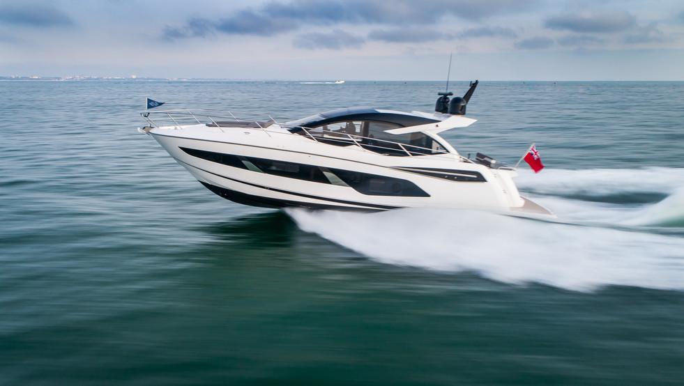 Sunseeker luxury yacht drone filming at sea