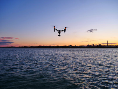Inspire 2 sunset at sea drone filming. Maritime Filming UK on the Solent