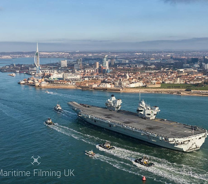 HMS Queen Elizabeth portsmouth drone filming