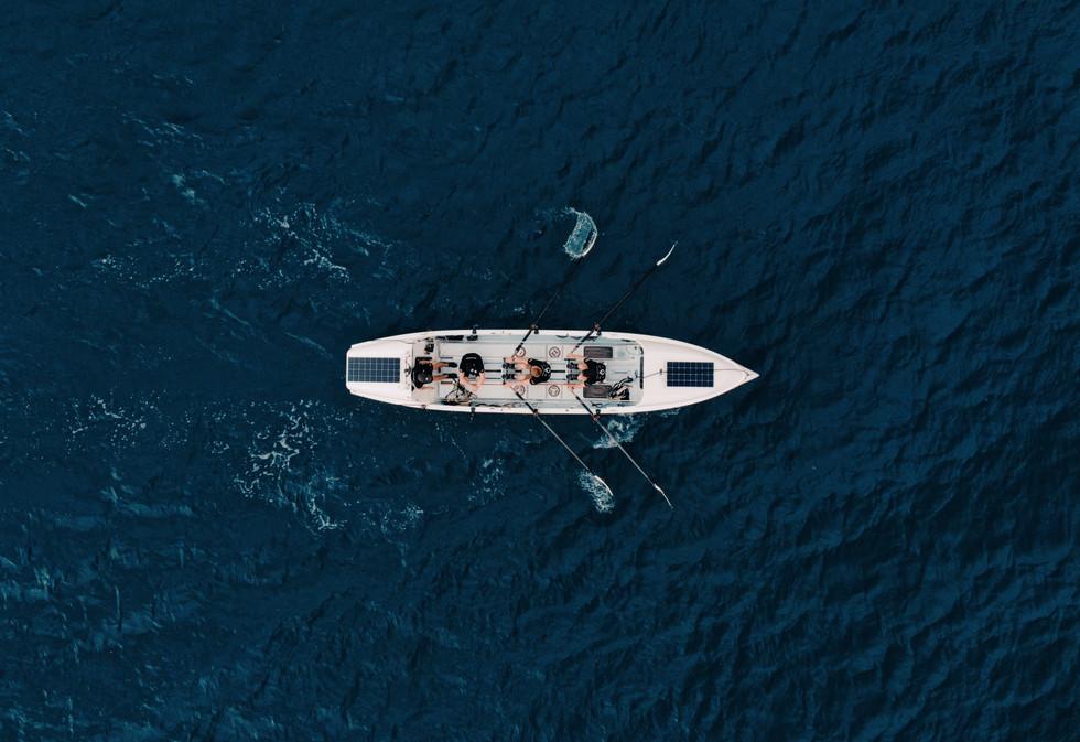 Top down drone shot of Rowing Boat atlantic crossing