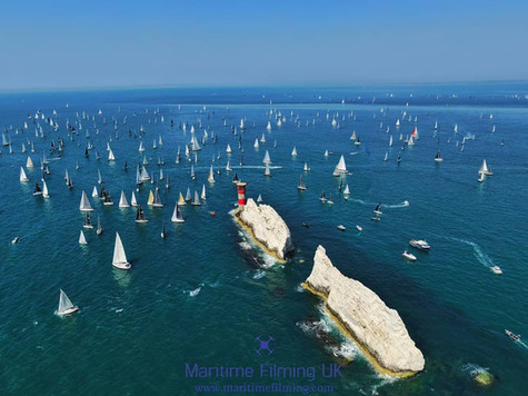 The Needles Isle of Wight round the island yacht race aerial drone photography