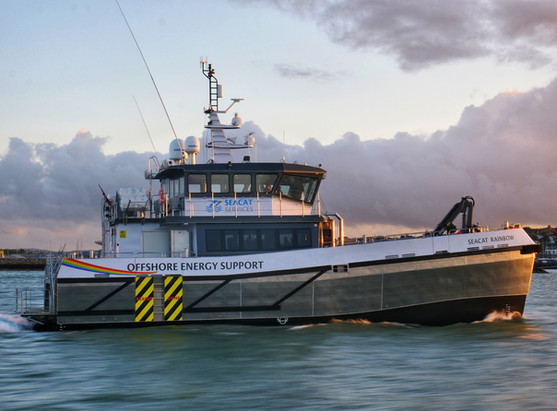 CTV offshore crew transfer vessel drone filming and photography. Diverse Marine