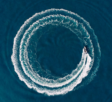 Tp down drone shot donut formation of a RIB