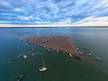 Brambles Bank Cricket Match aerial drone shot in the solent.