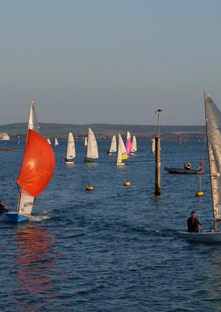 Sailing boats entering Lyminton Yacht Haven