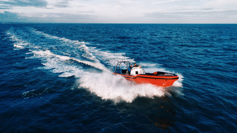 Rafnar UK boat out on sea trials filming and photography.