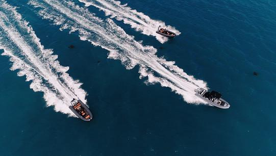 RIB Club aerial drone shot on the Solent