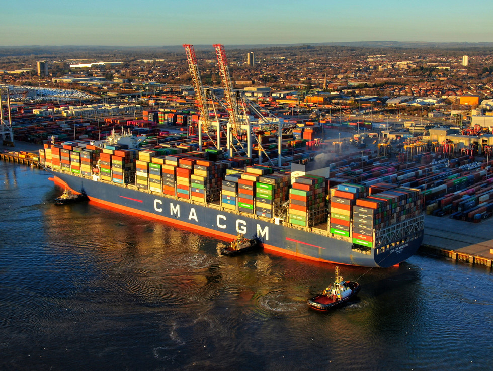 Cargo container ship in the Port of Southampton. Aerial drone filming shot
