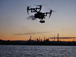 Large drone camera filming at sea Southampton
