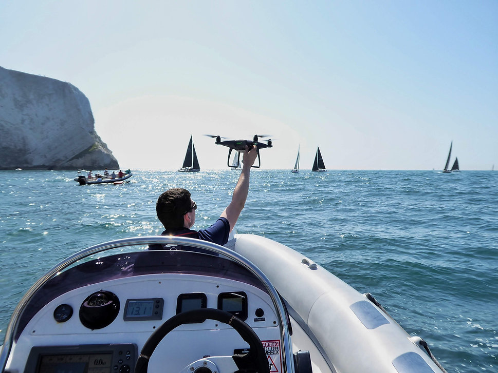 flying a drone at sea