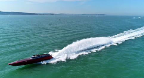 Powerboat at sea filmed by drone on The Solent