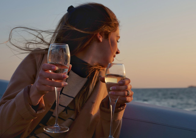 Charter yacht filming lifestlye video wine