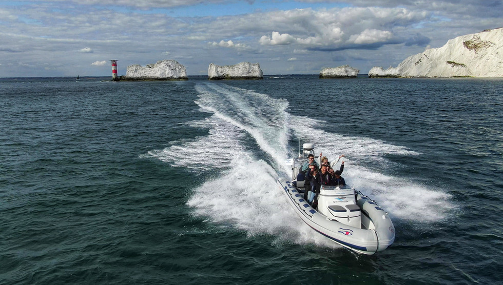 RIB charter at the Needles, Isle Of Wight drone shot