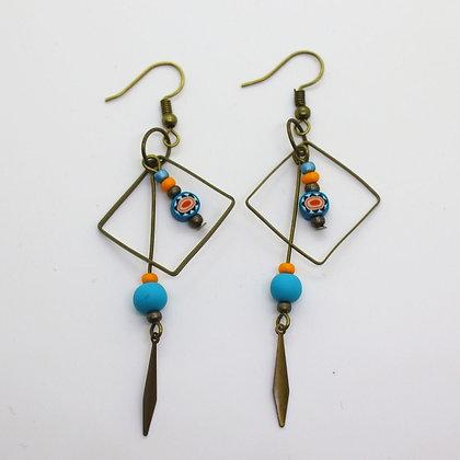 Boucles d'oreilles - cadre métal