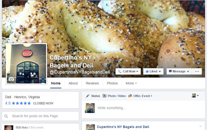 Cupertino's NY Bagels Facebook