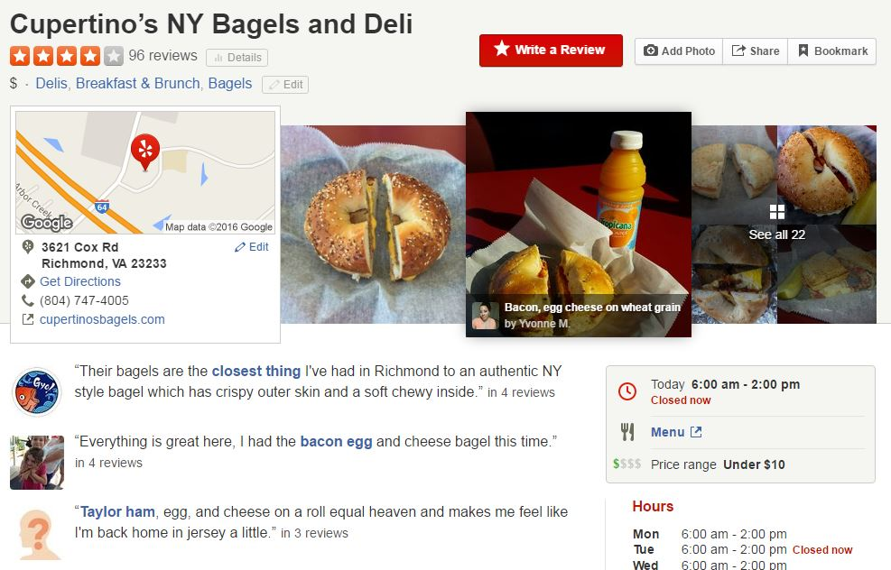 Cupertino's NY Bagels Yelp