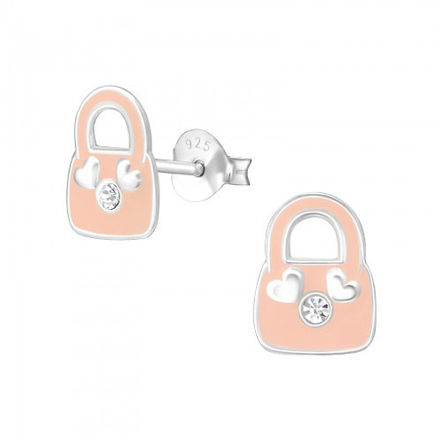 Pink Bag - Epoxy Colour + 925 Sterling Silver Crystal Ear Studs