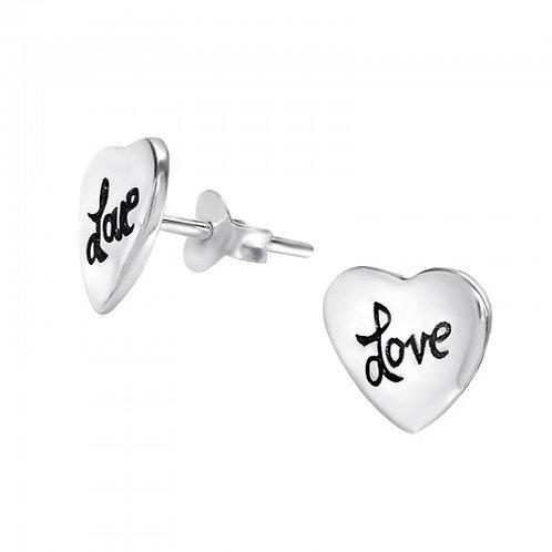 Love heart - 925 Sterling Silver Plain Ear Studs