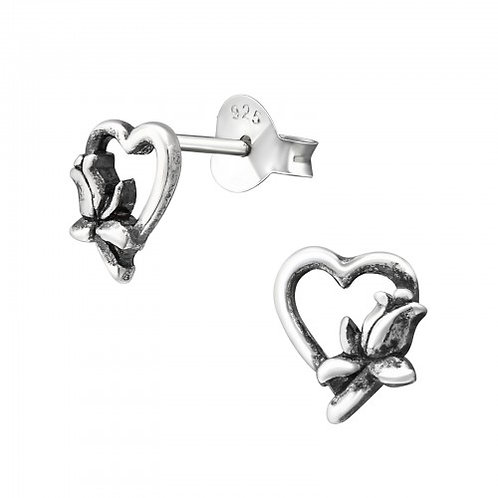 Heart With Flower - 925 Sterling Silver Plain Ear Studs