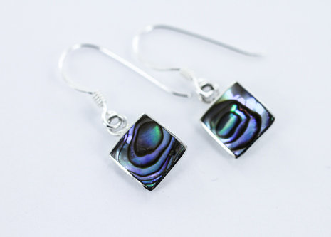 LUXURY Abalone square earrings 925 STERLING SILVER