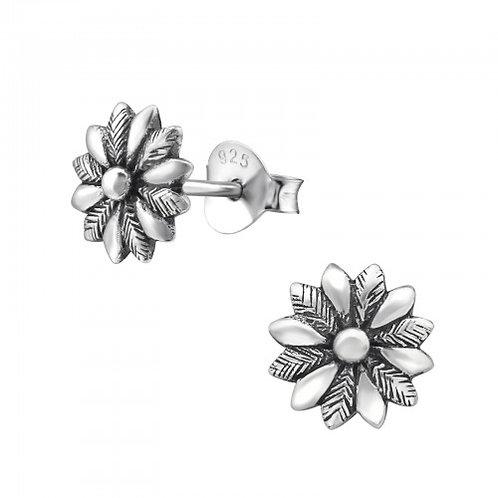 Flower - 925 Sterling Silver Plain Ear Studs