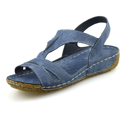 LOW WEDGE Slip On Denim Summer Walking Sandals- UK 3-7