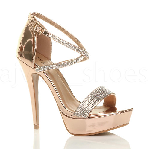 ROSE GOLD DIAMANTE PEEP TOE CROSS OVER STRAPPY PLATFORM SANDALS UK 3-7