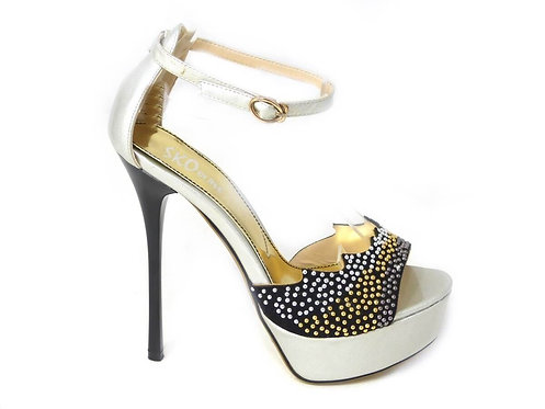 VERY HIGH HEELS STILETTO STUDDED PLATFORM SANDALS - BLACK OR SILVER - UK 3-8