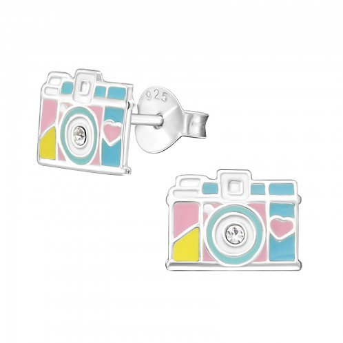 Camera - 925 Sterling Silver Crystal Ear Studs