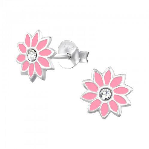Flower - 925 Sterling Silver Crystal Ear Studs