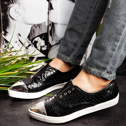 ECO - LEATHER SNEAKERS MIRROR FRONT TRAINERS IN BLACK - UK 3-7