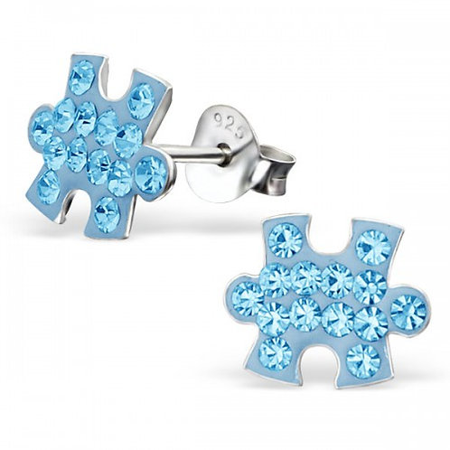 Jigsaw - 925 Sterling Silver Crystal Ear Studs