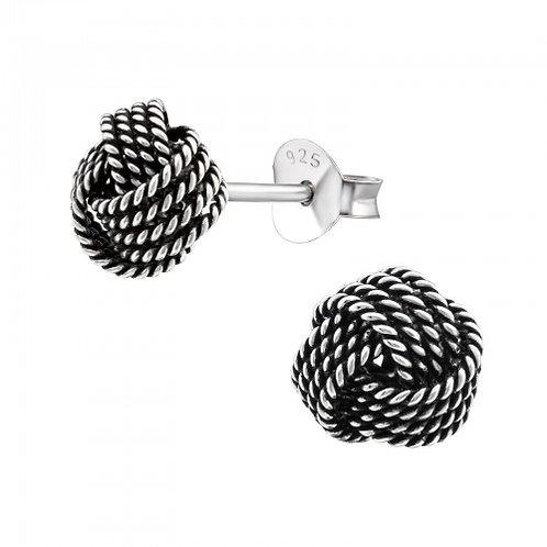 Knot - 925 Sterling Silver Plain Ear Studs