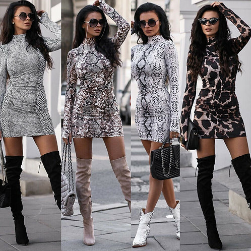 Animal Print Sexy Long Sleeve Mini Dress