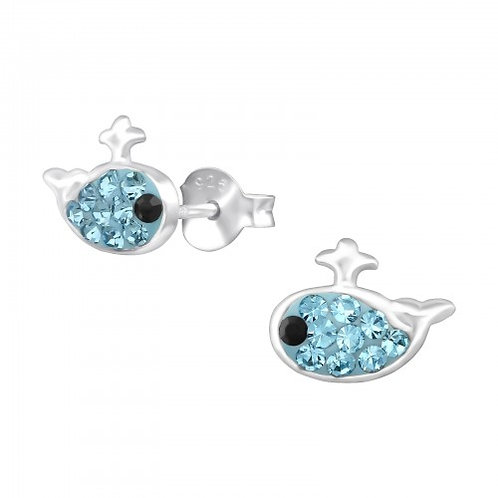 Whale - 925 Sterling Silver Crystal Ear Studs