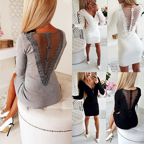V-Neck Zipper Bodycon Casual Lace Mini Dress