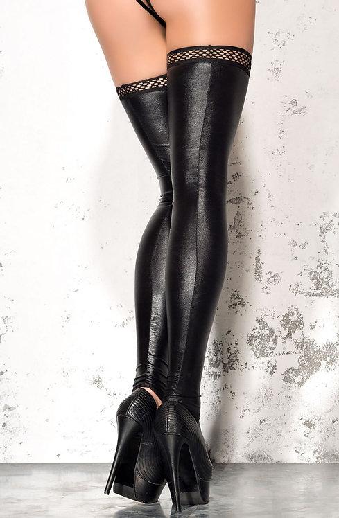 Me Seduce LUXURY LEATHER LOOK Stockings Black