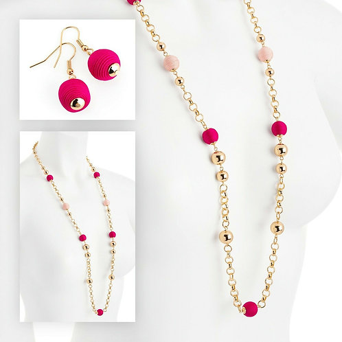 Gold colour fuchsia and pink cord ball chain necklace and earring set