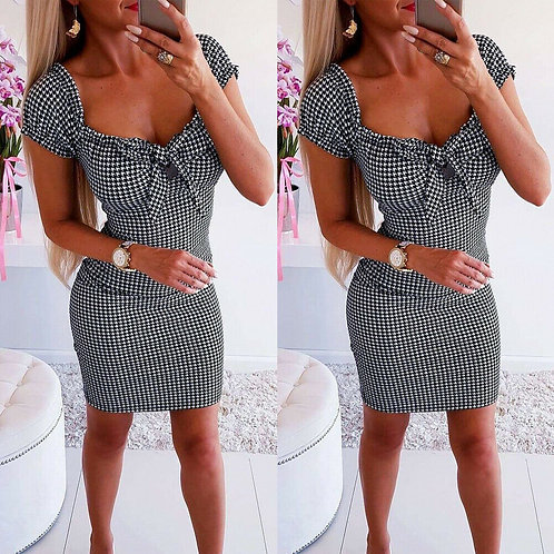 Houndstooth Short Sleeve Mini Dress