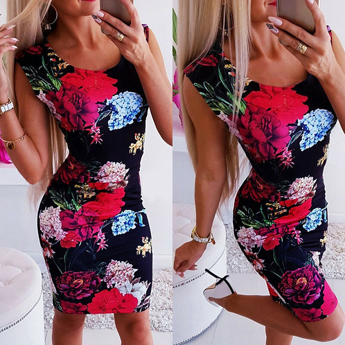 Sleevless Bodycon Slim Floral Mini Dress