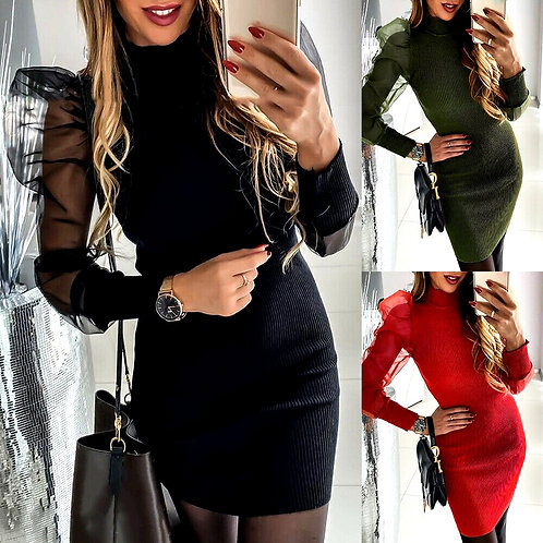Mesh Bodycon Casual Puff Sleeve Dress