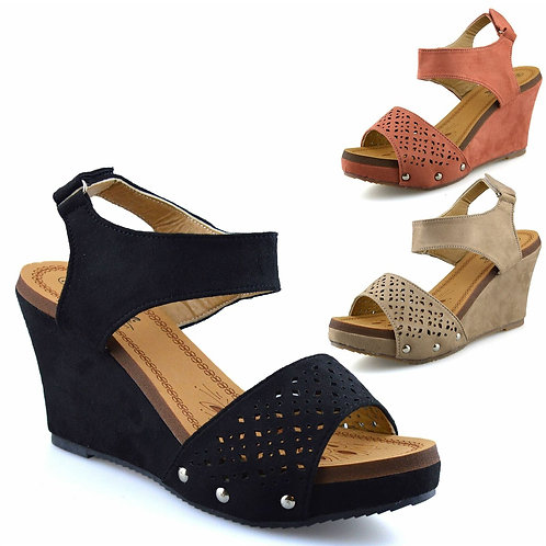 SUPER COMFY BENELI Mid Wedge Faux Suede SANDALS IN 3 COLOURS - UK 3-8