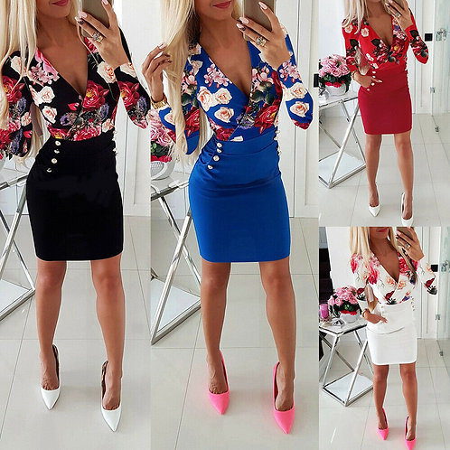 ELEGANT Floral Bodycon Dress