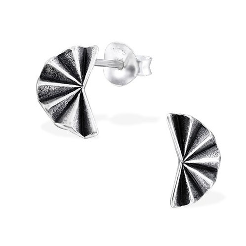 Origami - 925 Sterling Silver Plain Ear Studs