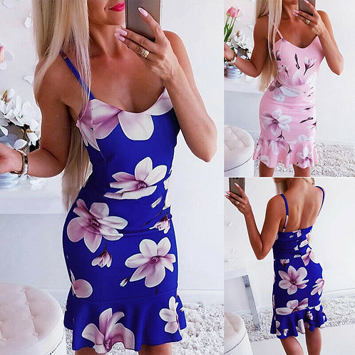 Floral Strappy Ruffle Dress
