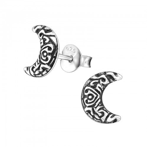 Crescent Moon - 925 Sterling Silver Plain Ear Studs