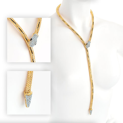 LONG Shiny Gold & Crystal Adjustable Snake Necklace with Magnetic Clasp