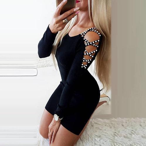 Beaded Long Sleeve Black Mini Dress